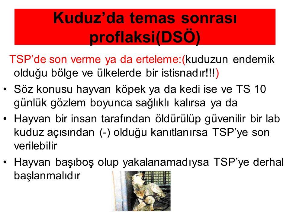 Kuduz'da temas sonrası proflaksi(DSÖ) TSP'de son verme ya da erteleme:(kuduzun endemik olduğu bölge ve ülkelerde bir istisnadır!!!) Söz konusu hayvan