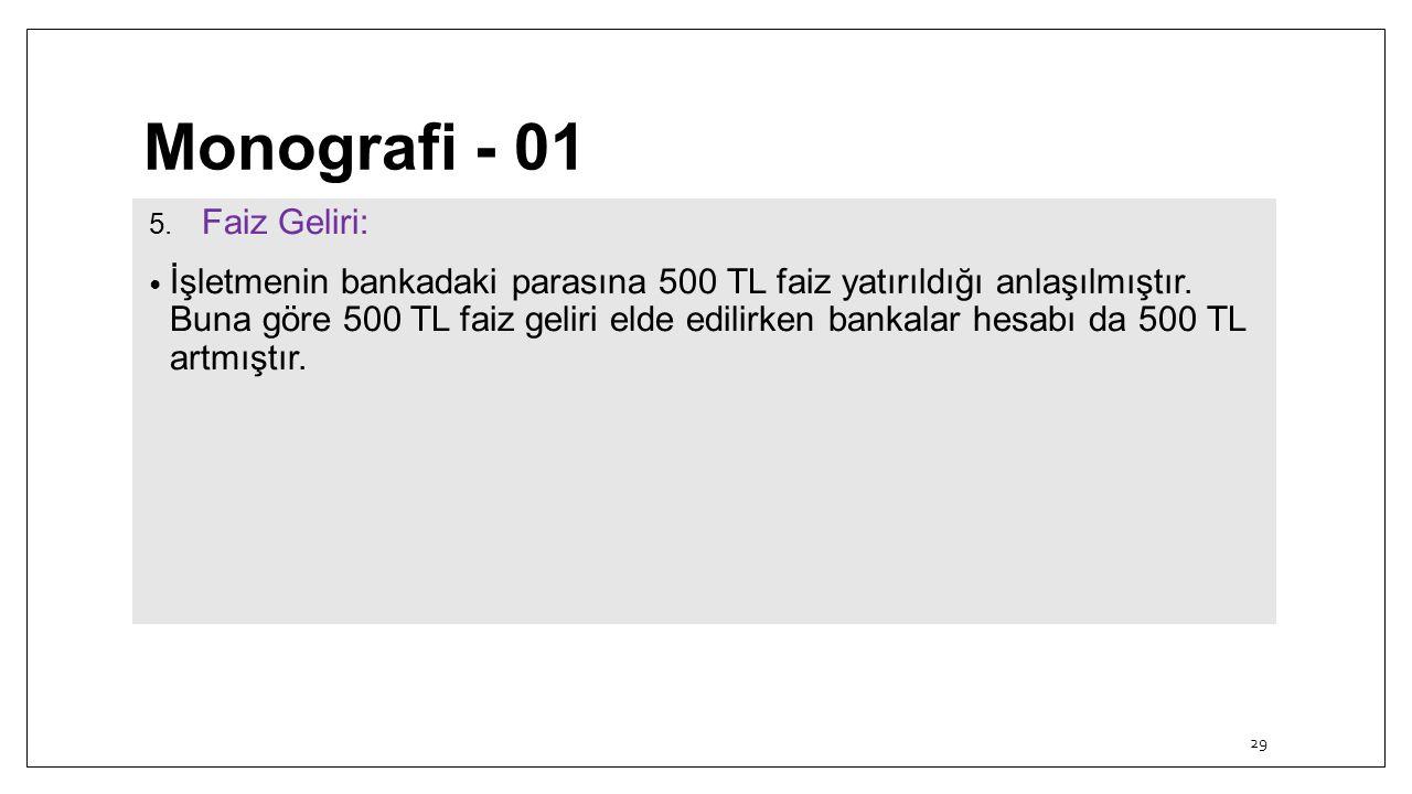 Monografi - 01 5. Faiz Geliri: İşletmenin bankadaki parasına 500 TL faiz yatırıldığı anlaşılmıştır. Buna göre 500 TL faiz geliri elde edilirken bankal
