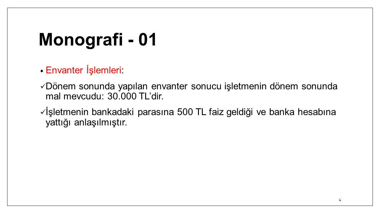Monografi - 01 Envanter İşlemleri: Dönem sonunda yapılan envanter sonucu işletmenin dönem sonunda mal mevcudu: 30.000 TL'dir. İşletmenin bankadaki par