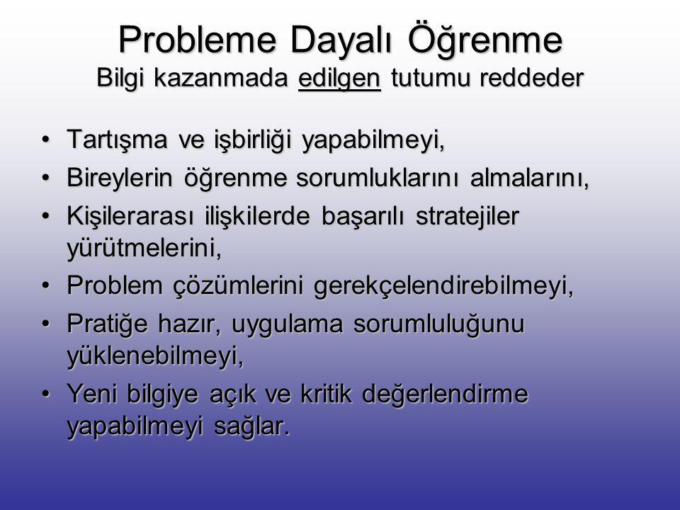 PROBLEME DAYALI ÖĞRENME Bazı Kavramlar Kişi hayatı boyunca problemlerle karşılaşır, düşünür, beceri geliştirir, stratejiler bulur, uygulayarak çözmeye