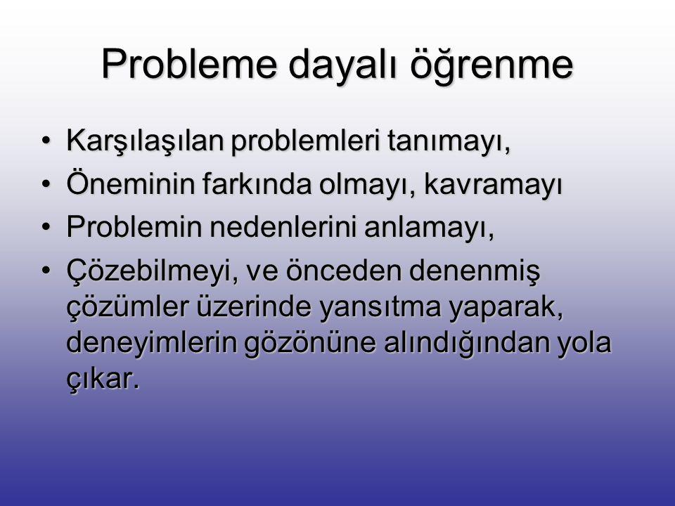 Probleme Dayalı Öğrenme Bilgi kazanmada edilgen tutumu reddeder Tartışma ve işbirliği yapabilmeyi,Tartışma ve işbirliği yapabilmeyi, Bireylerin öğrenm