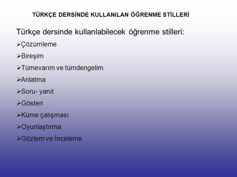 TÜRKÇE DERSİNDE KULLANILAN ÖĞRENME STİLLERİ Türkçe dersinde kullanlabilecek öğrenme stilleri:  Çözümleme  Bireşim  Tümevarım ve tümdengelim  Anlatma  Soru- yanıt  Gösteri  Küme çalışması  Oyunlaştırma  Gözlem ve İnceleme