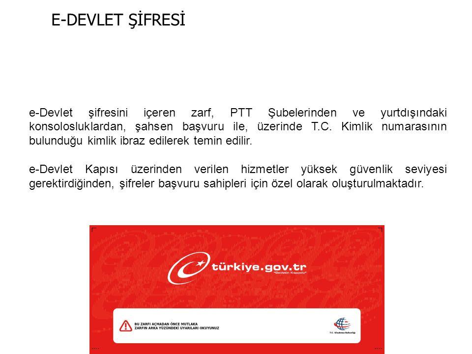e-Devlet şifresini içeren zarf, PTT Şubelerinden ve yurtdışındaki konsolosluklardan, şahsen başvuru ile, üzerinde T.C.