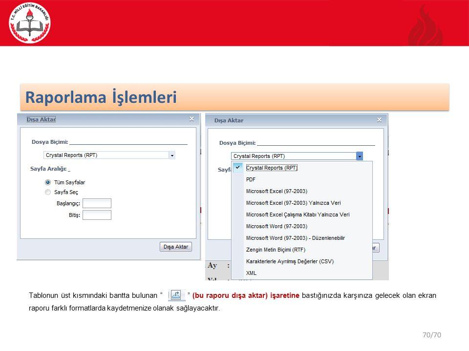 70/70 Raporlama İşlemleri Tablonun üst kısmındaki bantta bulunan (bu raporu dışa aktar) işaretine bastığınızda karşınıza gelecek olan ekran raporu farklı formatlarda kaydetmenize olanak sağlayacaktır.