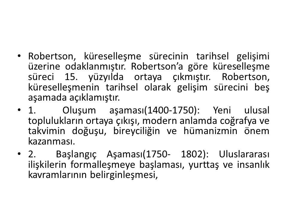 Robertson, küreselleşme sürecinin tarihsel gelişimi üzerine odaklanmıştır. Robertson'a göre küreselleşme süreci 15. yüzyılda ortaya çıkmıştır. Roberts