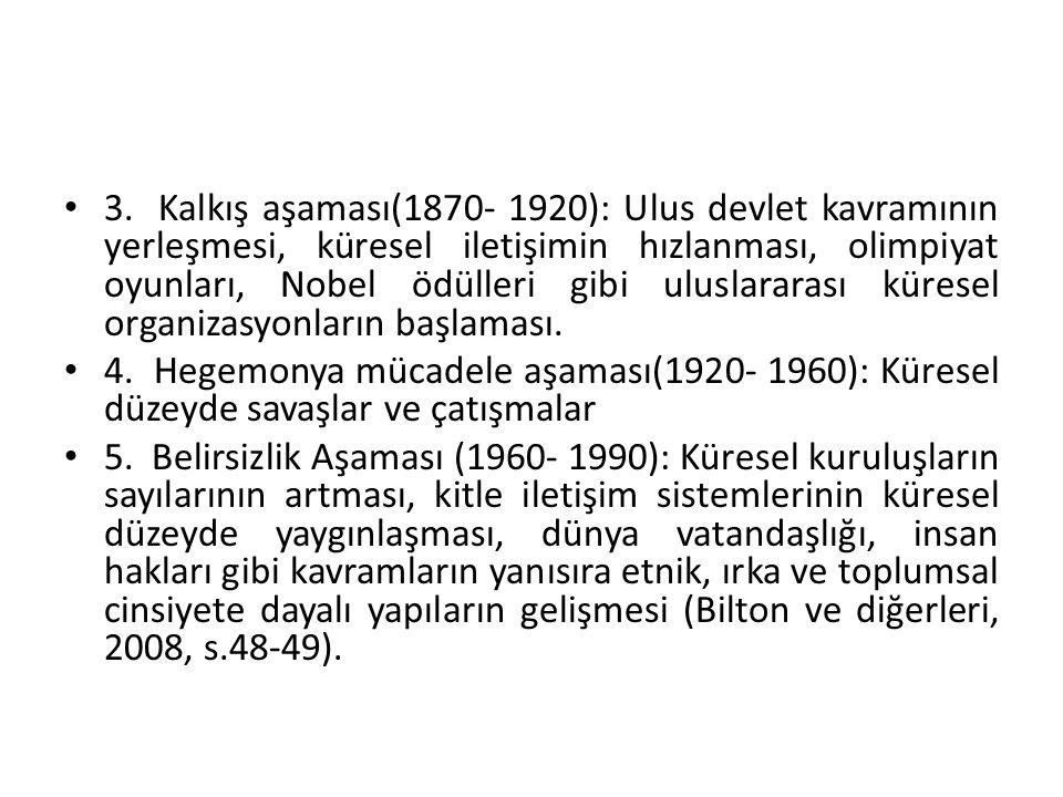 3. Kalkış aşaması(1870- 1920): Ulus devlet kavramının yerleşmesi, küresel iletişimin hızlanması, olimpiyat oyunları, Nobel ödülleri gibi uluslararası