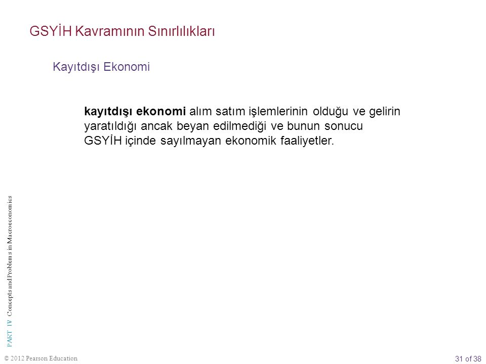 31 of 38 © 2012 Pearson Education PART IV Concepts and Problems in Macroeconomics kayıtdışı ekonomi alım satım işlemlerinin olduğu ve gelirin yaratıld