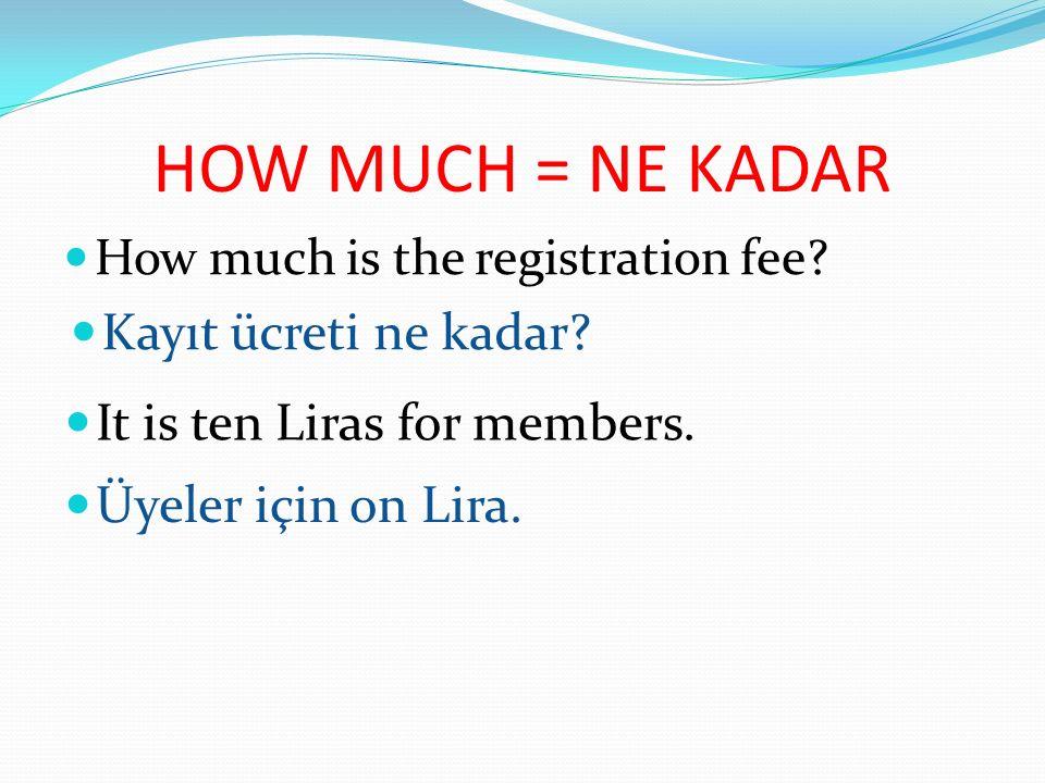 HOW MANY = KAÇ TANE How many text messages do you send.