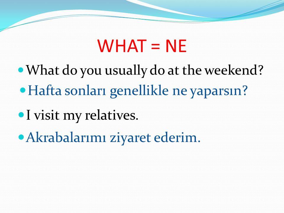 WHAT = NE What do you usually do at the weekend.Hafta sonları genellikle ne yaparsın.