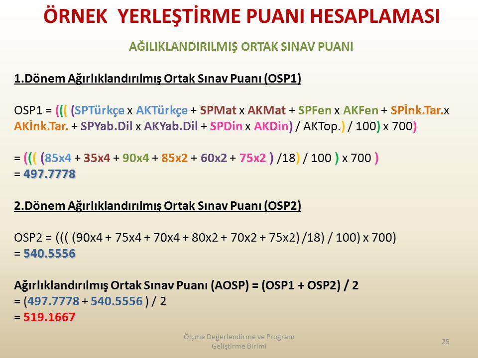 ÖRNEK YERLEŞTİRME PUANI HESAPLAMASI Ölçme Değerlendirme ve Program Geliştirme Birimi AĞILIKLANDIRILMIŞ ORTAK SINAV PUANI 1.Dönem Ağırlıklandırılmış Ortak Sınav Puanı (OSP1) OSP1 = ((( (SPTürkçe x AKTürkçe + SPMat x AKMat + SPFen x AKFen + SPİnk.Tar.x AKİnk.Tar.