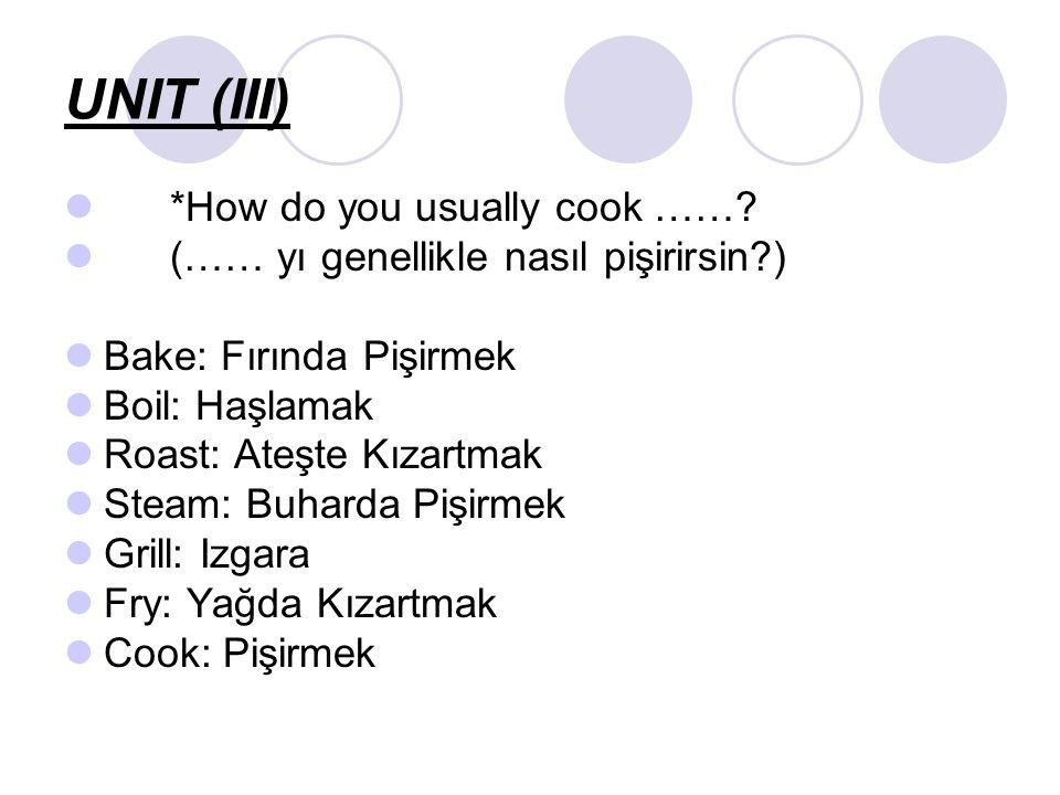 Tasty = Delicious: Lezzetli Enjoy it!: Afiyet olsun Process: İlerleme Ingredient: İçindekiler Recipe: Tarif Put: Koymak Add: Eklemek Chop: Doğramak Slice: Dilimlemek Serve: Servis etmek