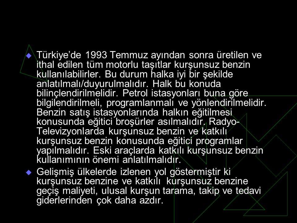  Türkiye'de 1993 Temmuz ayından sonra üretilen ve ithal edilen tüm motorlu taşıtlar kurşunsuz benzin kullanılabilirler. Bu durum halka iyi bir şekild