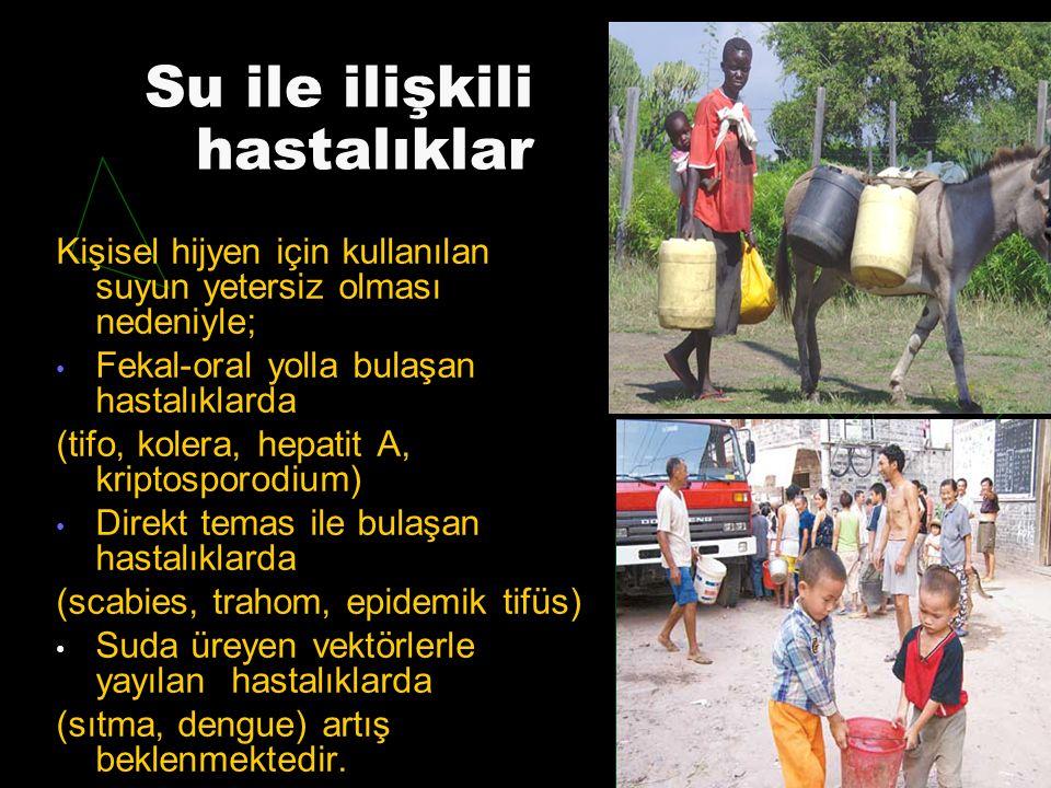 Su ile ilişkili hastalıklar Kişisel hijyen için kullanılan suyun yetersiz olması nedeniyle; Fekal-oral yolla bulaşan hastalıklarda (tifo, kolera, hepa