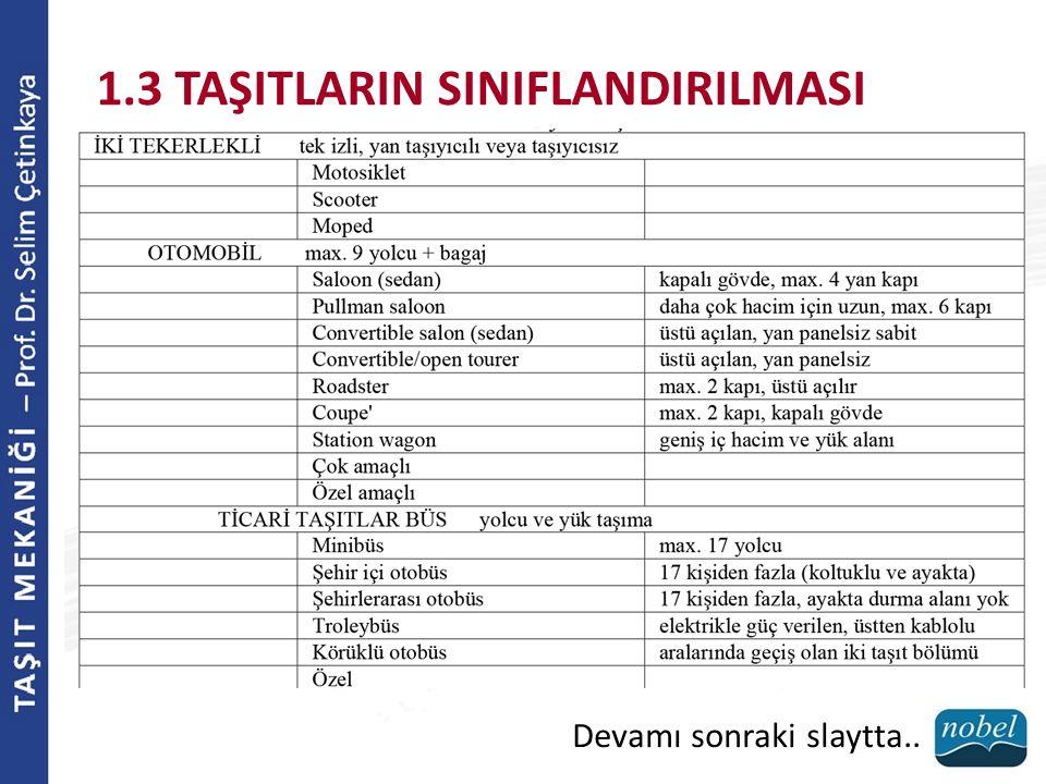 1.3 TAŞITLARIN SINIFLANDIRILMASI Devamı sonraki slaytta..