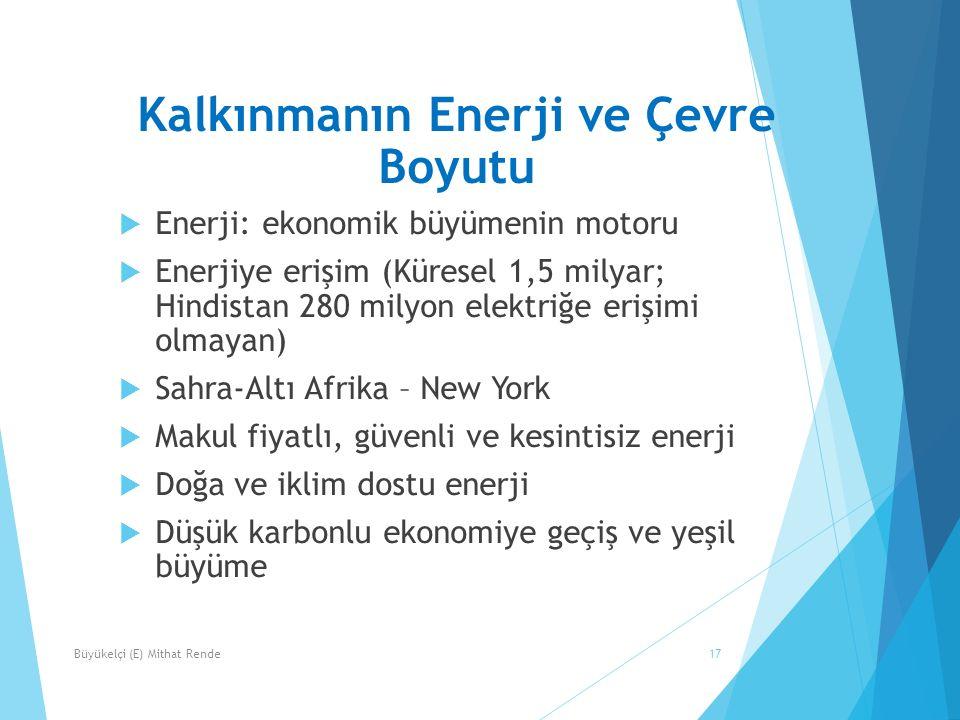 Kalkınmanın Enerji ve Çevre Boyutu  Enerji: ekonomik büyümenin motoru  Enerjiye erişim (Küresel 1,5 milyar; Hindistan 280 milyon elektriğe erişimi o