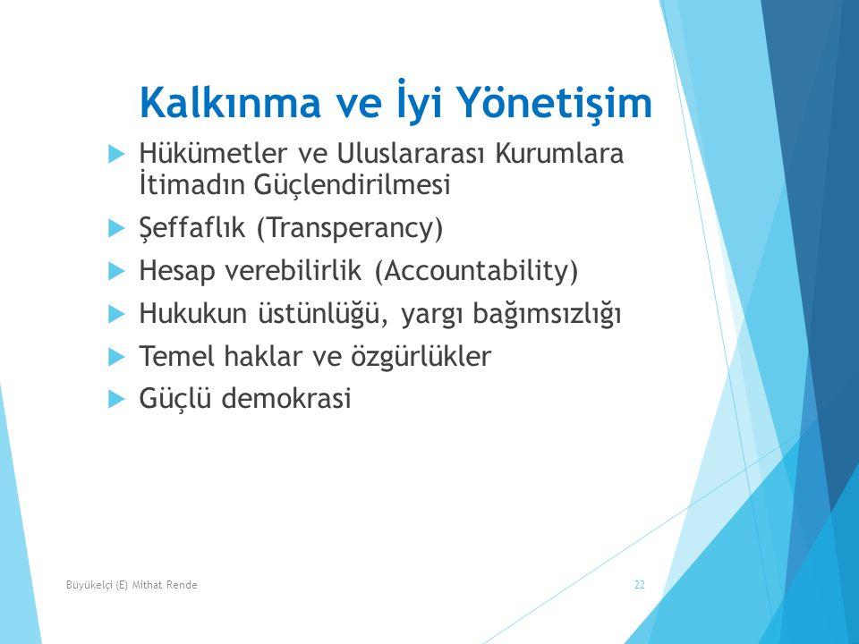 Kalkınma ve İyi Yönetişim  Hükümetler ve Uluslararası Kurumlara İtimadın Güçlendirilmesi  Şeffaflık (Transperancy)  Hesap verebilirlik (Accountability)  Hukukun üstünlüğü, yargı bağımsızlığı  Temel haklar ve özgürlükler  Güçlü demokrasi 22Büyükelçi (E) Mithat Rende