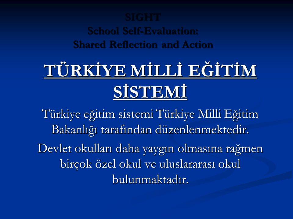 SIGHT School Self-Evaluation: Shared Reflection and Action TÜRKİYE MİLLİ EĞİTİM SİSTEMİ Türkiye eğitim sistemi Türkiye Milli Eğitim Bakanlığı tarafından düzenlenmektedir.