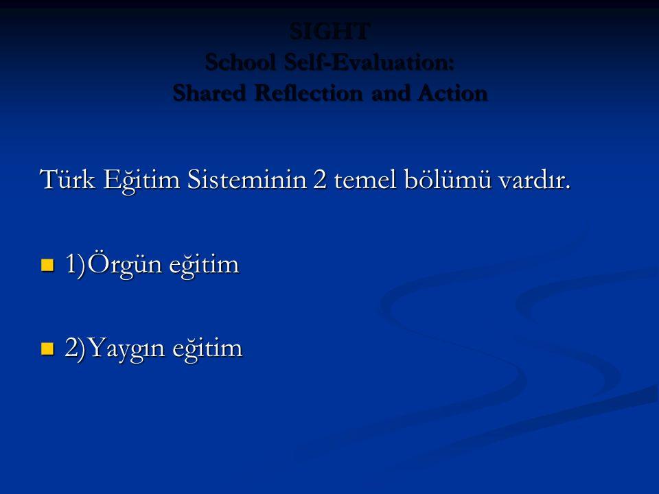 SIGHT School Self-Evaluation: Shared Reflection and Action Türk Eğitim Sisteminin 2 temel bölümü vardır. 1)Örgün eğitim 1)Örgün eğitim 2)Yaygın eğitim