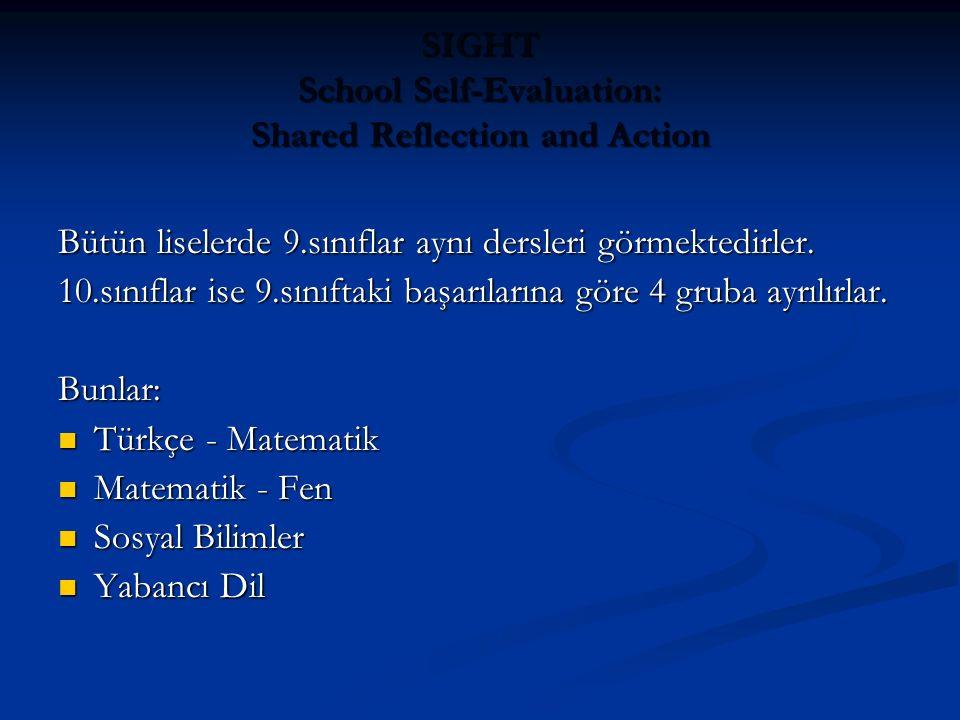 SIGHT School Self-Evaluation: Shared Reflection and Action Bütün liselerde 9.sınıflar aynı dersleri görmektedirler.