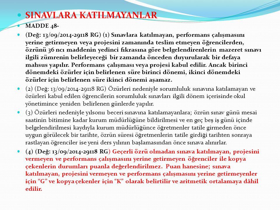 SINAVLARA KATILMAYANLAR MADDE 48- (Değ: 13/09/2014-29118 RG) (1) Sınavlara katılmayan, performans çalışmasını yerine getirmeyen veya projesini zamanın