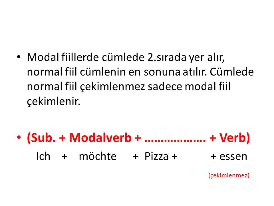 Modal fiillerde cümlede 2.sırada yer alır, normal fiil cümlenin en sonuna atılır. Cümlede normal fiil çekimlenmez sadece modal fiil çekimlenir. (Sub.