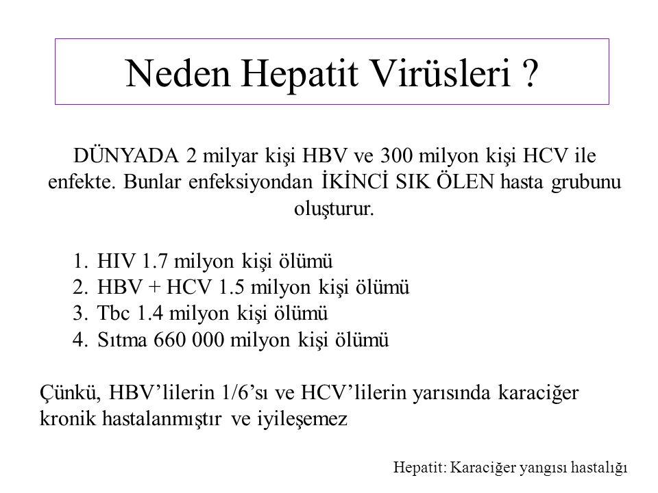 DÜNYADA 2 milyar kişi HBV ve 300 milyon kişi HCV ile enfekte. Bunlar enfeksiyondan İKİNCİ SIK ÖLEN hasta grubunu oluşturur. 1. HIV 1.7 milyon kişi ölü