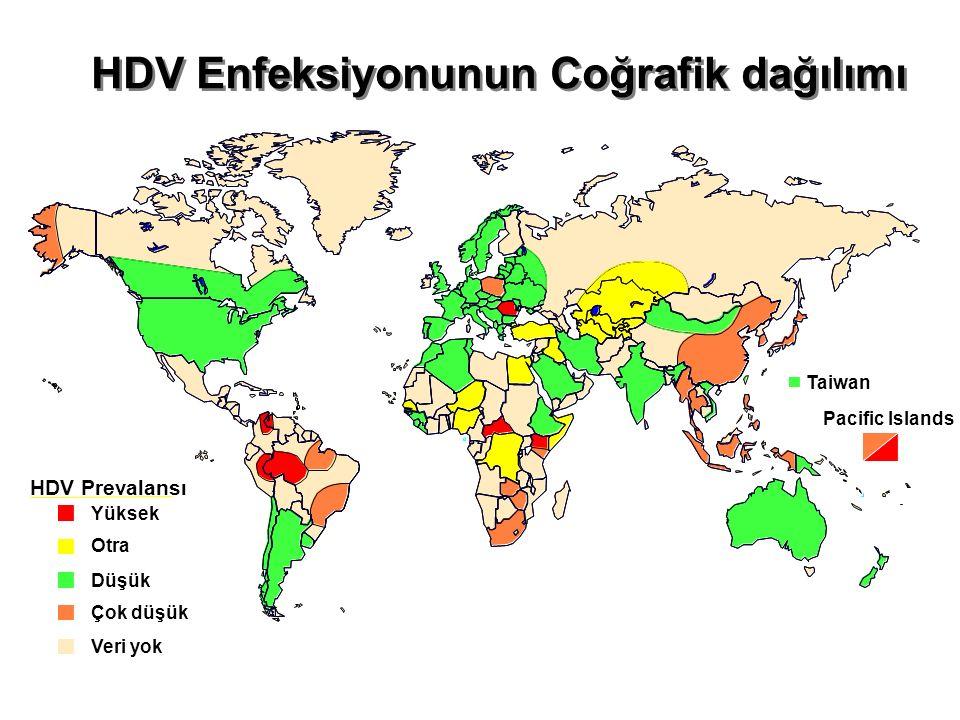 HDV Enfeksiyonunun Coğrafik dağılımı HDV Prevalansı Yüksek Otra Düşük Çok düşük Veri yok Taiwan Pacific Islands