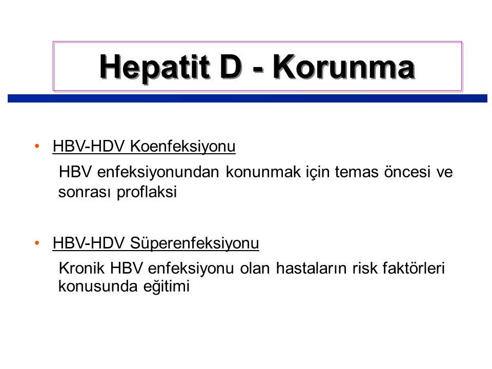 HBV-HDV Koenfeksiyonu HBV enfeksiyonundan konunmak için temas öncesi ve sonrası proflaksi HBV-HDV Süperenfeksiyonu Kronik HBV enfeksiyonu olan hastaların risk faktörleri konusunda eğitimi Hepatit D - Korunma