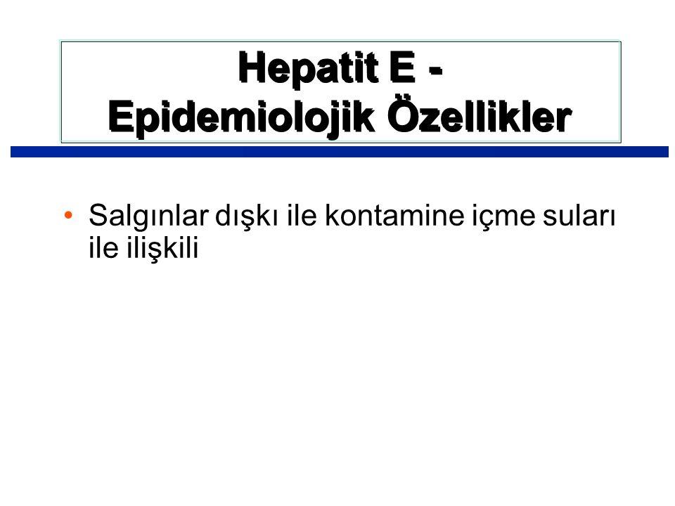 Salgınlar dışkı ile kontamine içme suları ile ilişkili Hepatit E - Epidemiolojik Özellikler Hepatit E - Epidemiolojik Özellikler