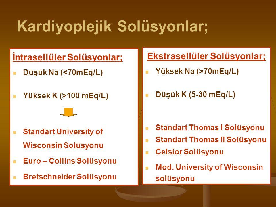 Kardiyoplejik Solüsyonlar; İntrasellüler Solüsyonlar; Düşük Na (<70mEq/L) Yüksek K (>100 mEq/L) Standart University of Wisconsin Solüsyonu Euro – Collins Solüsyonu Bretschneider Solüsyonu Ekstrasellüler Solüsyonlar; Yüksek Na (>70mEq/L) Düşük K (5-30 mEq/L) Standart Thomas I Solüsyonu Standart Thomas II Solüsyonu Celsior Solüsyonu Mod.