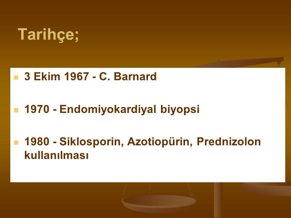 3 Ekim 1967 - C. Barnard 1970 - Endomiyokardiyal biyopsi 1980 - Siklosporin, Azotiopürin, Prednizolon kullanılması Tarihçe;