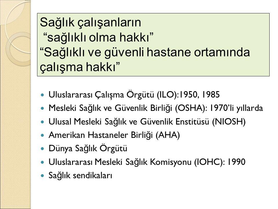 Uluslararası Çalışma Örgütü (ILO):1950, 1985 Mesleki Sa ğ lık ve Güvenlik Birli ğ i (OSHA): 1970'li yıllarda Ulusal Mesleki Sa ğ lık ve Güvenlik Ensti