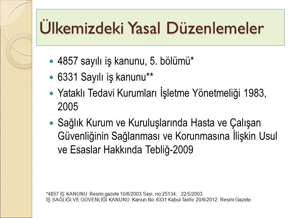 Ülkemizdeki Yasal Düzenlemeler 4857 sayılı iş kanunu, 5. bölümü* 6331 Sayılı iş kanunu** Yataklı Tedavi Kurumları İşletme Yönetmeliği 1983, 2005 Sağlı