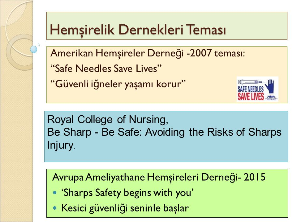 """Hemşirelik Dernekleri Teması Amerikan Hemşireler Derne ğ i -2007 teması: """"Safe Needles Save Lives"""" """"Güvenli i ğ neler yaşamı korur"""" Avrupa Ameliyathan"""
