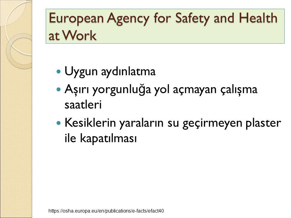 European Agency for Safety and Health at Work Uygun aydınlatma Aşırı yorgunlu ğ a yol açmayan çalışma saatleri Kesiklerin yaraların su geçirmeyen plas