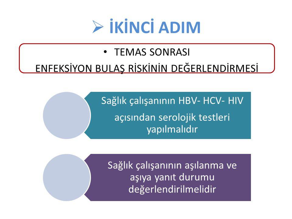  İKİNCİ ADIM Sağlık çalışanının HBV- HCV- HIV açısından serolojik testleri yapılmalıdır Sağlık çalışanının aşılanma ve aşıya yanıt durumu değerlendir