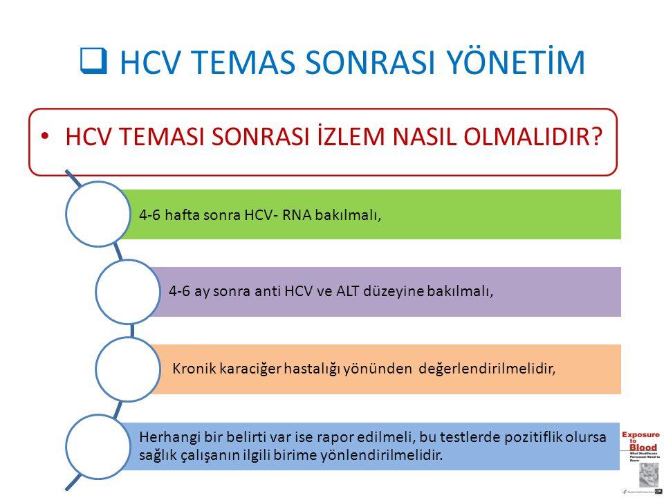  HCV TEMAS SONRASI YÖNETİM HCV TEMASI SONRASI İZLEM NASIL OLMALIDIR? 4-6 hafta sonra HCV- RNA bakılmalı, 4-6 ay sonra anti HCV ve ALT düzeyine bakılm