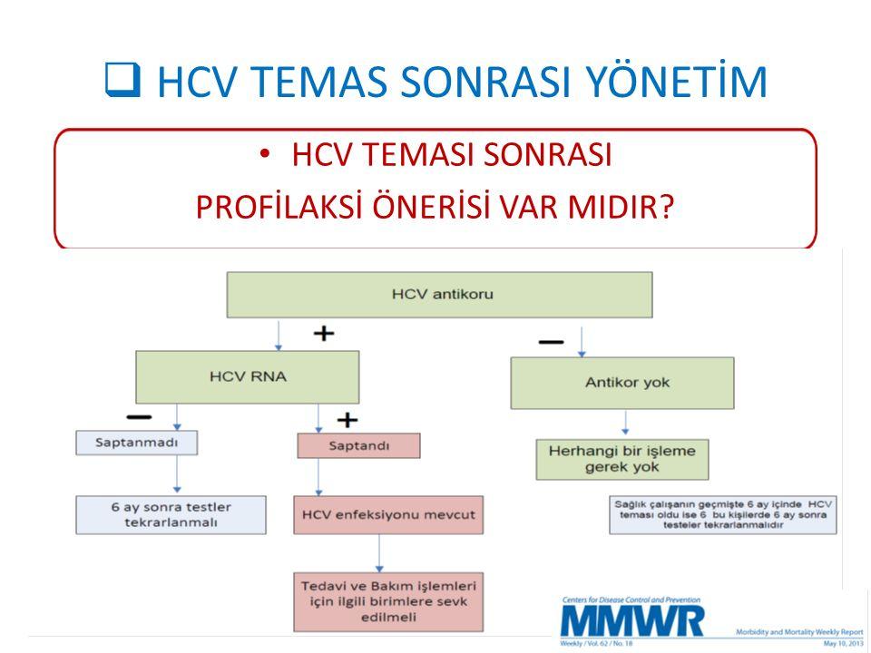  HCV TEMAS SONRASI YÖNETİM HCV TEMASI SONRASI PROFİLAKSİ ÖNERİSİ VAR MIDIR?
