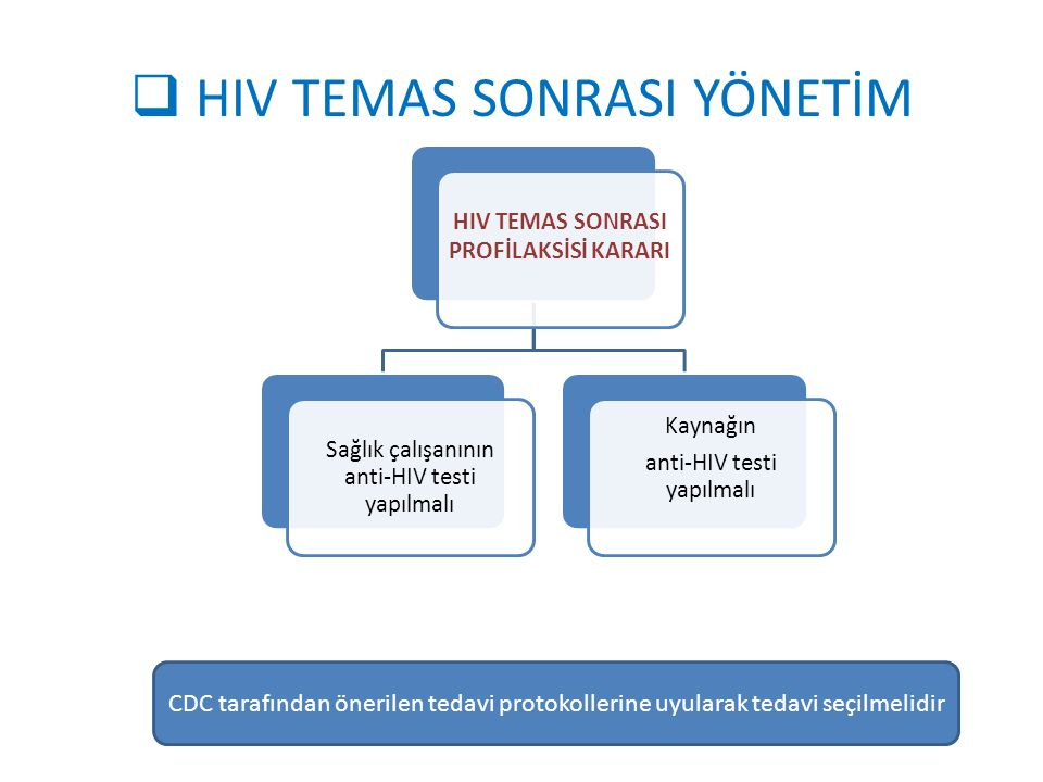  HIV TEMAS SONRASI YÖNETİM HIV TEMAS SONRASI PROFİLAKSİSİ KARARI Sağlık çalışanının anti-HIV testi yapılmalı Kaynağın anti-HIV testi yapılmalı CDC ta
