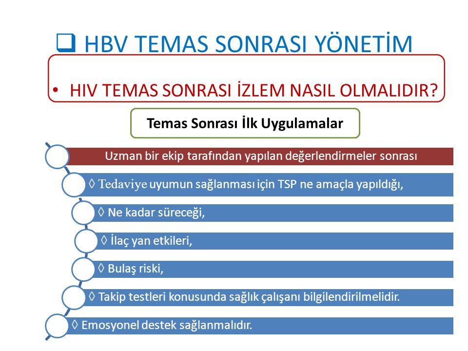  HBV TEMAS SONRASI YÖNETİM HIV TEMAS SONRASI İZLEM NASIL OLMALIDIR? Temas Sonrası İlk Uygulamalar Uzman bir ekip tarafından yapılan değerlendirmeler