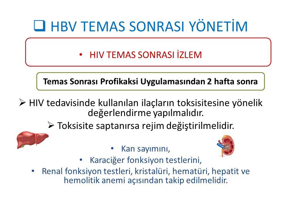  HBV TEMAS SONRASI YÖNETİM HIV TEMAS SONRASI İZLEM  HIV tedavisinde kullanılan ilaçların toksisitesine yönelik değerlendirme yapılmalıdır.  Toksisi