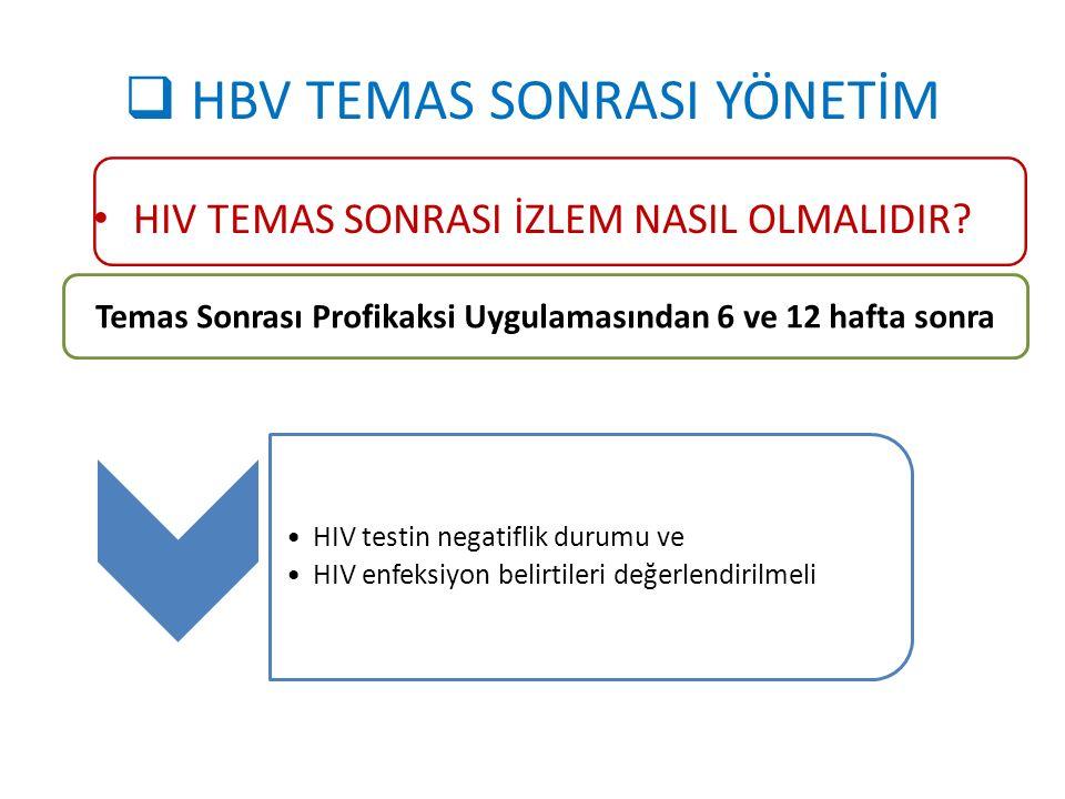  HBV TEMAS SONRASI YÖNETİM HIV TEMAS SONRASI İZLEM NASIL OLMALIDIR? Temas Sonrası Profikaksi Uygulamasından 6 ve 12 hafta sonra HIV testin negatiflik