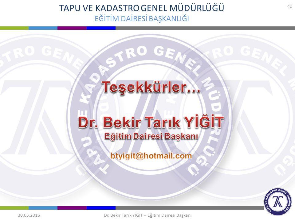 TAPU VE KADASTRO GENEL MÜDÜRLÜĞÜ EĞİTİM DAİRESİ BAŞKANLIĞI 30.05.2016 40 Dr. Bekir Tarık YİĞİT – Eğitim Dairesi Başkanı