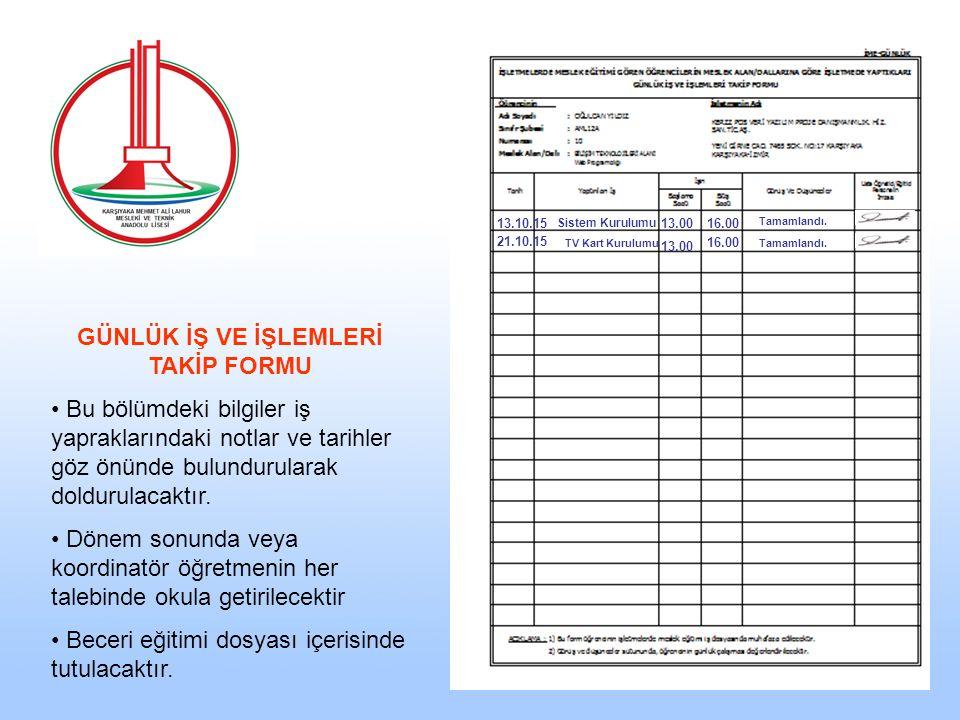 13.10.15 Sistem Kurulumu 13.0016.00 Tamamlandı. 21.10.15 TV Kart Kurulumu 13.00 16.00 Tamamlandı.