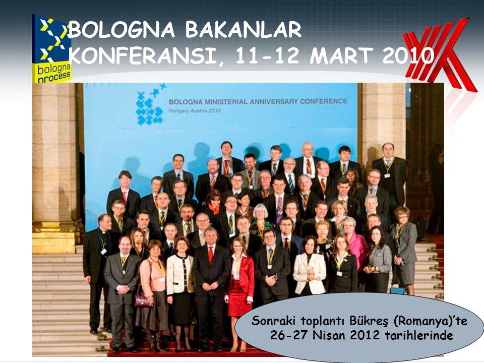 BOLOGNA BAKANLAR KONFERANSI, 11-12 MART 2010 Sonraki toplantı Bükreş (Romanya)'te 26-27 Nisan 2012 tarihlerinde
