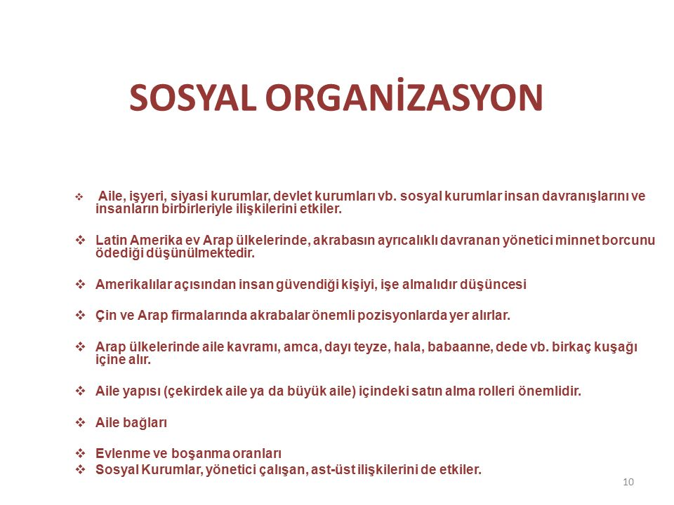 SOSYAL ORGANİZASYON  Aile, işyeri, siyasi kurumlar, devlet kurumları vb.