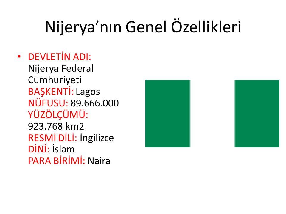 Nijerya'nın Genel Özellikleri DEVLETİN ADI: Nijerya Federal Cumhuriyeti BAŞKENTİ: Lagos NÜFUSU: 89.666.000 YÜZÖLÇÜMÜ: 923.768 km2 RESMİ DİLİ: İngilizc