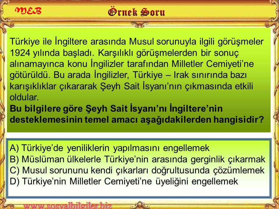 Türk ordusu gücünün büyük bir bölümünü Şeyh Sait İsyanı'nın bastırılması için kullandı. Bu nedenle de Musul sorunu, İngilizlerin istedikleri şekilde s
