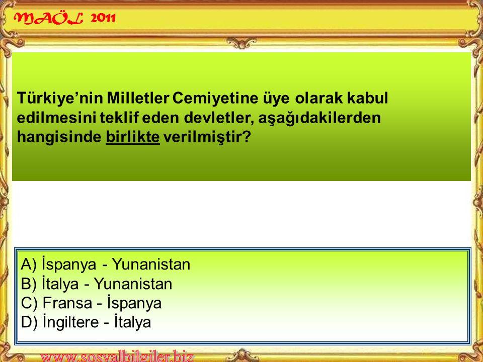 Türkiye Cumhuriyeti'nin sınırlarına katılan en son il, aşağıdakilerden hangisidir? A) Hatay B) Edirne C) İzmir D) Kars MAÖL 2011