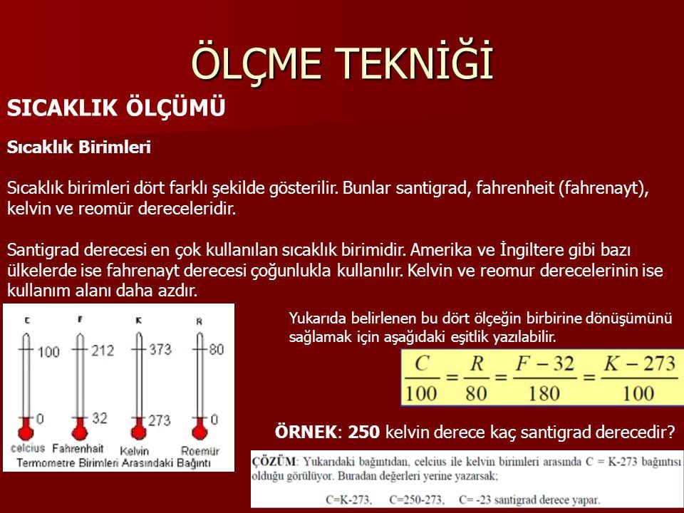 ÖLÇME TEKNİĞİ SICAKLIK ÖLÇÜMÜ Sıcaklık Birimleri Sıcaklık birimleri dört farklı şekilde gösterilir.
